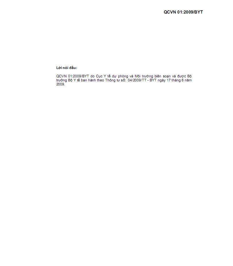 QCVN01:2009/BYT về chất lượng nước ăn uống - 1