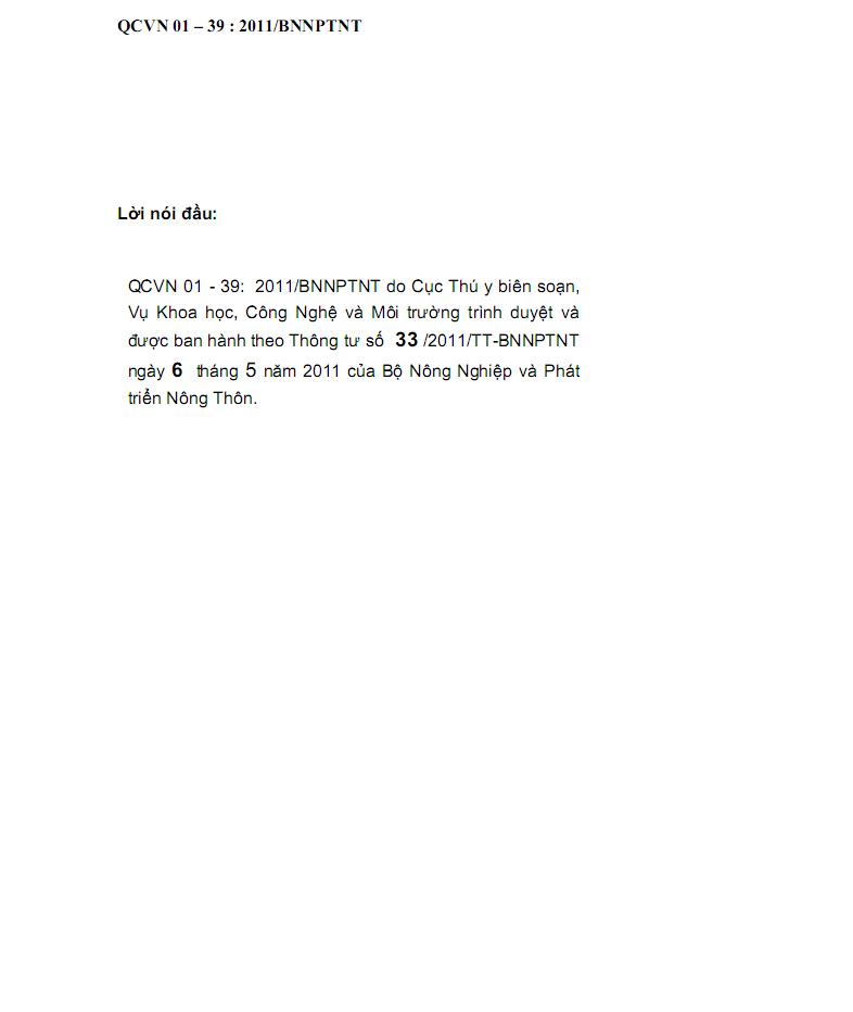 QCVN01-39:2011/BNNPTNT về vệ sinh nước dùng trong chăn nuôi - 1