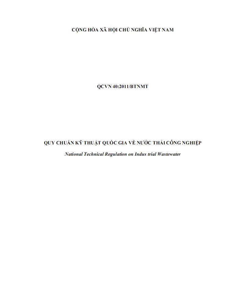 QCVN40:2011/BTNMT về nước thải công nghiệp